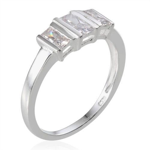 J Francis - Sterling Silver (Bgt) 3 Stone Ring Made With SWAROVSKI ZIRCONIA
