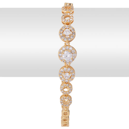 AAA Simulated White Diamond Bracelet (Size 7.5) in Gold Tone