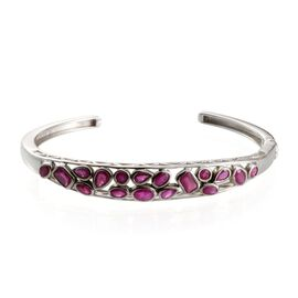 African Ruby Bangle (Size 7.5) in Platinum Overlay Sterling Silver 6.250 Ct.