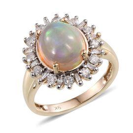 9K Y Gold Ethiopian Welo Opal (Ovl 2.65 Ct), Diamond Ring 3.250 Ct.