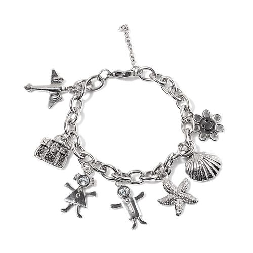 White Austrian Crystal Sun, Shell, Starfish, Boy, Girl, Bag and Plane Charm Bracelet (Size 8) in Stainless Steel