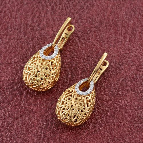 J Francis - 14K Gold Overlay Sterling Silver (Rnd) Filigree Earrings (with Latch Back) Made with SWAROVSKI ZIRCONIA.Total Silver Wt 8.00 Gms