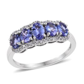 Tanzanite (Ovl 0.50 Ct), Natural Cambodian Zircon Ring in Platinum Overlay Sterling Silver 2.000 Ct.