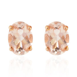 Tuscon Collection ILIANA 18K R Gold Marropino Morganite (Ovl) Earrings (with Push Back) 1.250 Ct.