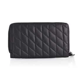 Genuine Leather Black Colour Diamond Pattern RFID Quilted Ladies Wallet with Credit Card Holder (Size 20x11 Cm)
