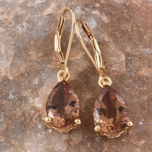 Alexite (Pear) Lever Back Earrings in 14K Gold Overlay Sterling Silver 5.750 Ct.