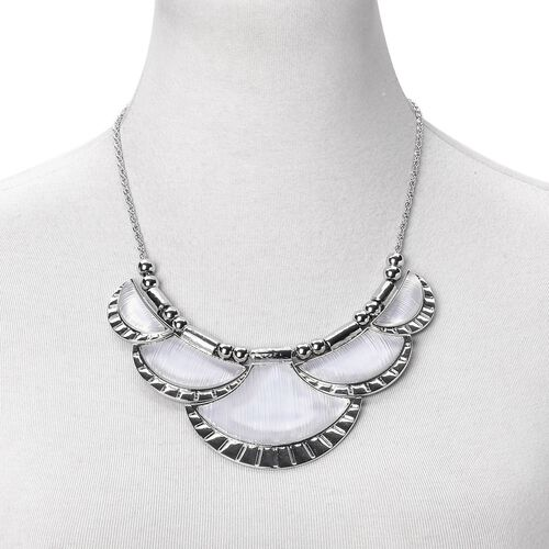 Simulated White Diamond Necklace (Size 20 with 2 inch Extender) and Earrings (with Push Back) in Silver Tone with Stainless Steel