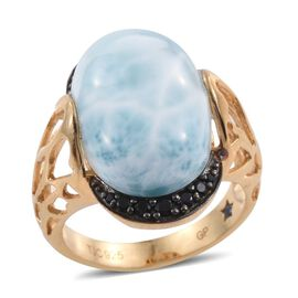 GP Larimar (Ovl 14.90 Ct), Boi Ploi Black Spinel and Kanchanaburi Blue Sapphire Ring in 14K Gold Overlay Sterling 15.250 Ct.