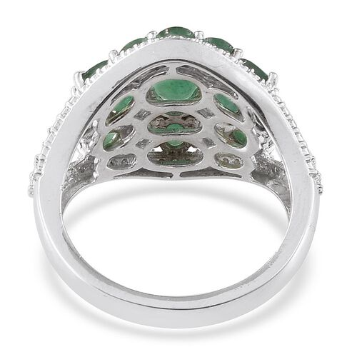 Kagem Zambian Emerald (Ovl 0.50 Ct), Diamond Ring in Platinum Overlay Sterling Silver 3.020 Ct.