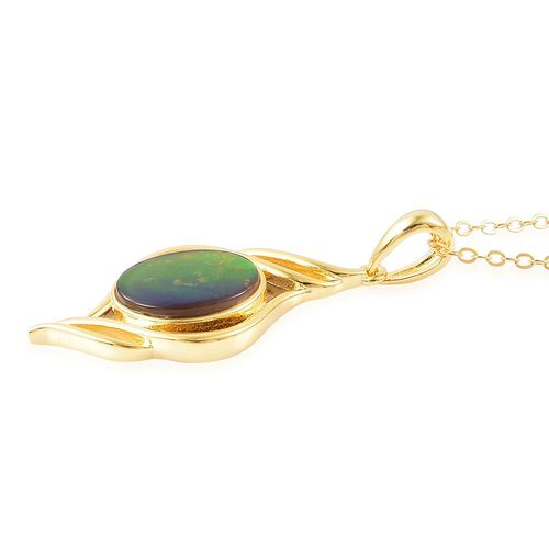 AA Canadian Ammolite (Ovl) Solitaire Pendant With Chain in Yellow Gold Overlay Sterling Silver 2.750 Ct.