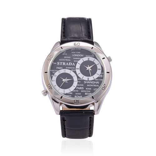 STRADA Japanese Movement Black Dial Water Resistant Watch in Silver Tone with Stainless Steel Back and Black Strap