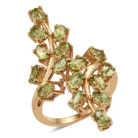 AA Hebei Peridot (Ovl) Leaves Crossover Ring in 14K Gold Overlay Sterling Silver 3.750 Ct.