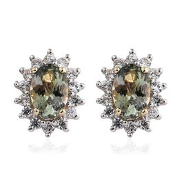 9K Yellow Gold 1.25 ct. AA Natural Green Tanzanite Stud Earrings with Natural Cambodian Zircon