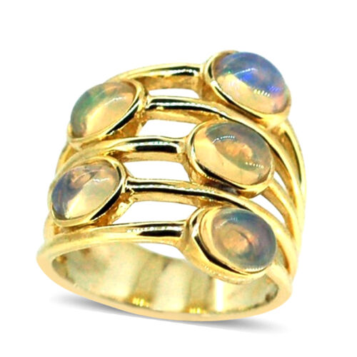 Ethiopian Welo Opal (Ovl) 5 Stone Ring in 14K Gold Overlay Sterling Silver 2.500 Ct.