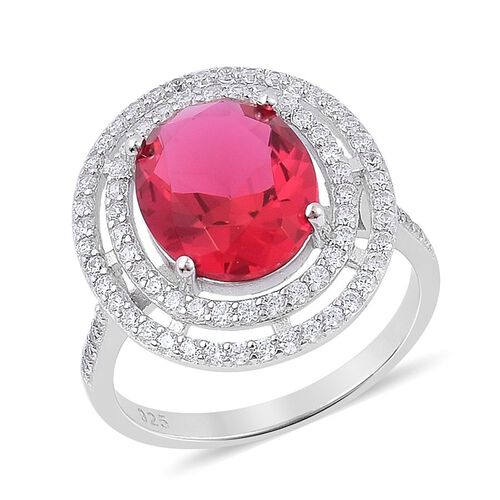 ELANZA AAA Simulated Ruby and Simulated White Diamond Ring in Rhodium Plated Sterling Silver