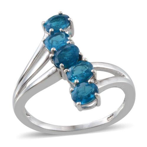Malgache Neon Apatite (Ovl) 5 Stone Crossover Ring in Platinum Overlay Sterling Silver 1.500 Ct.