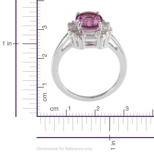 Kunzite Colour Quartz (Ovl 3.25 Ct), White Topaz Ring in  Platinum Overlay Sterling Silver 4.250 Ct.