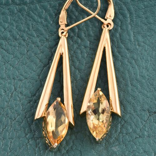 Citrine (Mrq) Lever Back Earrings in 14K Gold Overlay Sterling Silver 5.000 Ct.
