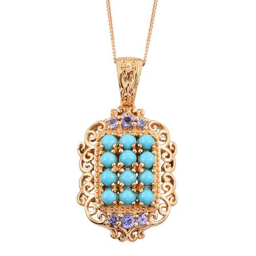 Arizona Sleeping Beauty Turquoise (Rnd), Tanzanite Pendant With Chain in 14K Gold Overlay Sterling Silver 1.650 Ct.