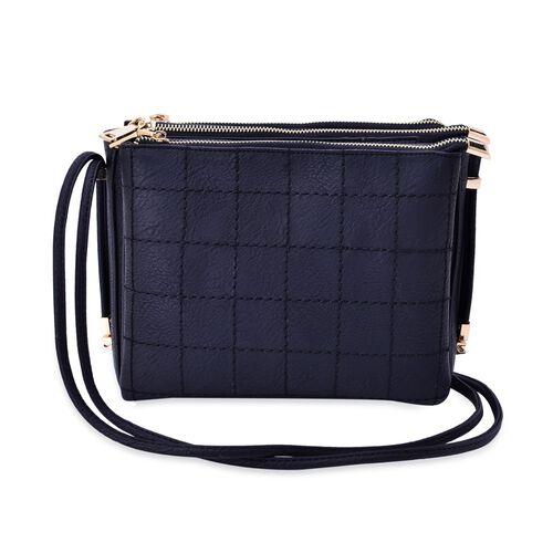 Black Colour Check Pattern Crossbody Bag with Shoulder Strap (Size 24.5x20x10 Cm)
