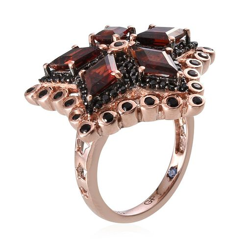 GP Mozambique Garnet, Kanchanaburi Blue Sapphire and Boi Ploi Black Spinel Ring in Rose Gold Overlay Sterling Silver 4.000 Ct.