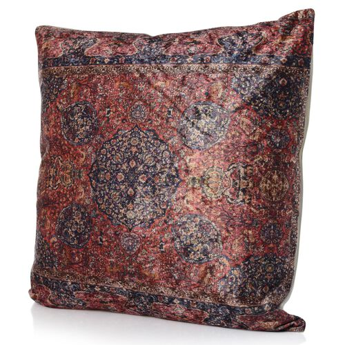 Fuchsia, Red and Blue Colour Cushion (Size 43x43 Cm)