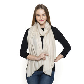 100% Fine Cashmere Wool - Hand Loomed Cream Shawl (Size 200 x 70 Cm)