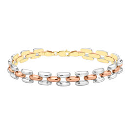 Close Out Deal 9K Yellow, White and Rose Gold Open Brick Link Bracelet (Size 7.5), Gold wt 8.40 Gms.