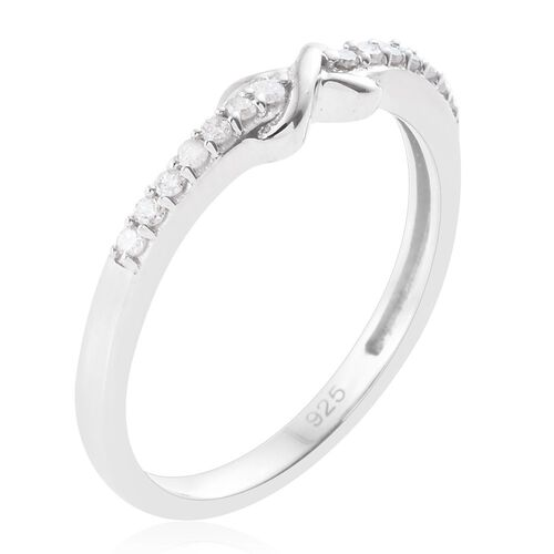 Diamond (Rnd) Promise Infinity Ring in Platinum Overlay Sterling Silver 0.100 Ct.