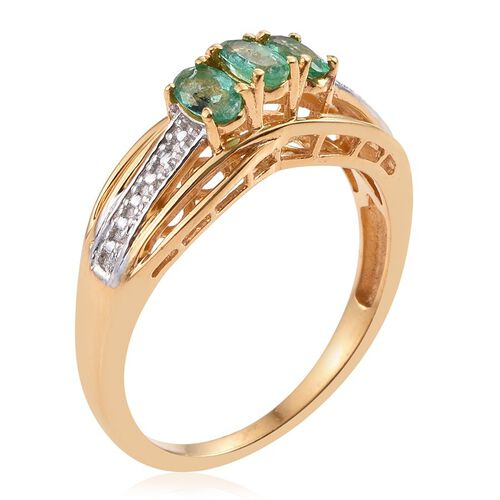 Brazilian Emerald (Ovl) Trilogy Ring in 14K Gold Overlay Sterling Silver 0.500 Ct.