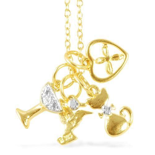 Diamond (Rnd) 14K Gold Overlay  Sterling Silver Multi Charm Necklace (Size 18) 0.010 Ct.