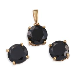 Boi Ploi Black Spinel Round Solitaire Pendant and Stud Earrings Set in 14K Gold Overlay Sterling Silver 7.500 Ct.