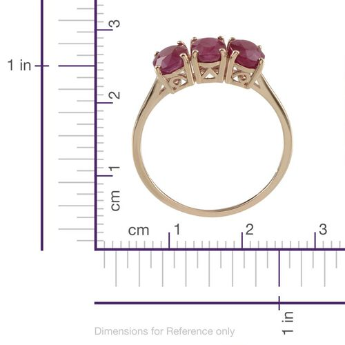 9K Y Gold Burmese Ruby (Ovl) Trilogy Ring 3.000 Ct.