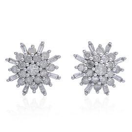 9K Yellow Gold 1 Carat Diamond Cluster SnowflakeStud Earrings SGL Certified I3 G-H.