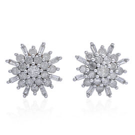9K White Gold 1 Carat Diamond Cluster SnowflakeStud Earrings SGL Certified I3 G-H.