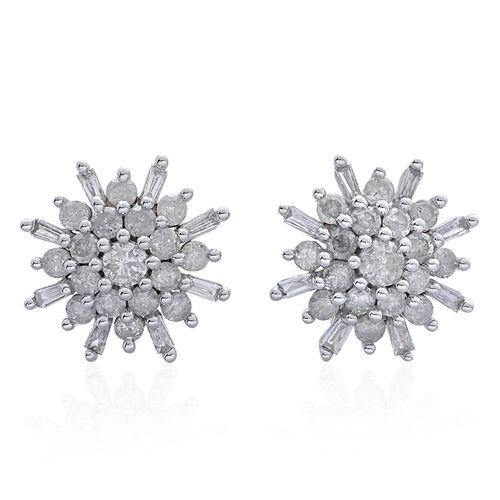 9K White Gold 1 Carat Diamond Cluster SnowflakeStud Earrings SGL Certified I3 G-H.