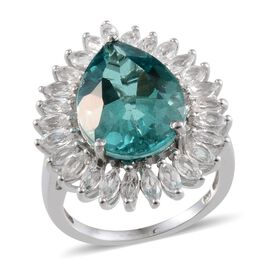 Paraiba Tourmaline Colour Quartz (Pear 9.00 Ct), White Topaz Ring in Platinum Overlay Sterling Silver 11.750 Ct.