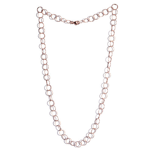 JCK Vegas Collection Rose Gold Overlay Sterling Silver Diamond Cut Open Circle Chain (Size 24), Silver wt 6.80 Gms.