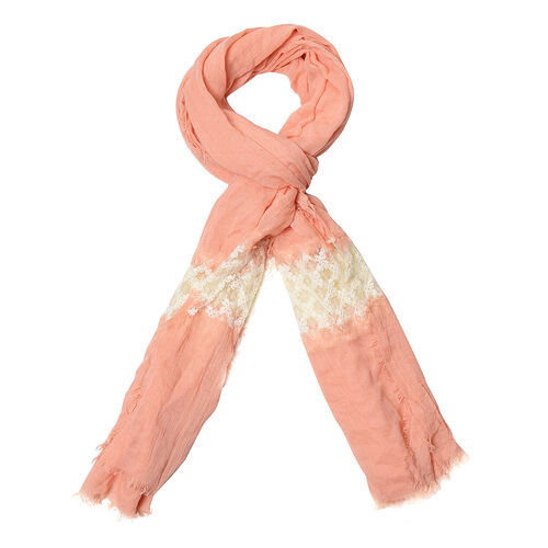 Peach Colour Scarf with Cream Colour Lace (Size 210x75 Cm)