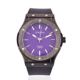BASELWORLD Inspired - STRADA Japanese Movement Purple Dial Watch in Black Tone bezel  with Black Silicone Strap