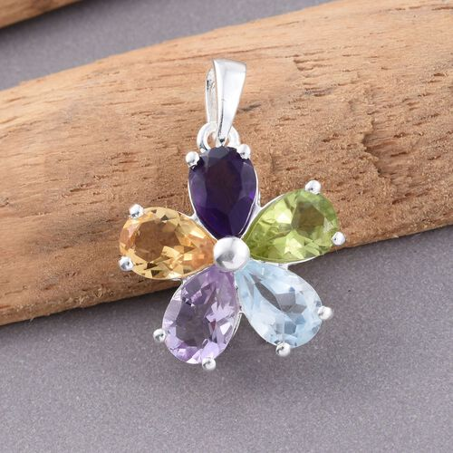 Hebei Peridot, Sky Blue Topaz, Rose De France Amethyst, Citrine and Amethyst (Pear) Floral Pendant in Sterling Silver 3.00 Ct.