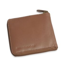 Genuine Leather Chocolate Colour RFID Zip Up Wallet (Size 11x9 Cm)