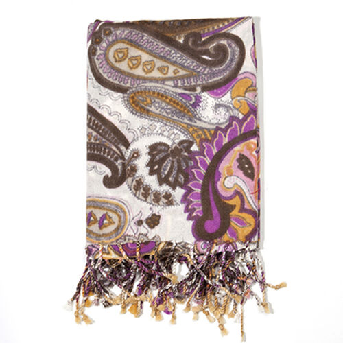 100% Wool Brown Colour Paisley Pattern Scarf (Size 70x180 Cm)