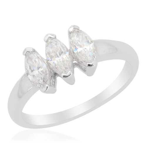 J Francis - Platinum Overlay Sterling Silver (Mrq) Trilogy Ring Made with SWAROVSKI ZIRCONIA