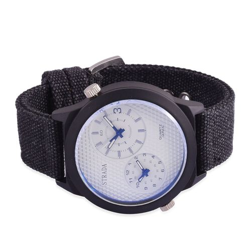 STRADA Japanese Movement Chronograph Look White Dial Water Resistant Watch in Black Tone with Stainless Steel Back and Black Strap