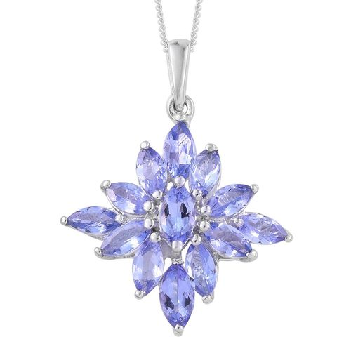 Tanzanite (Mrq) Pendant With Chain in Platinum Overlay Sterling Silver 2.000 Ct.