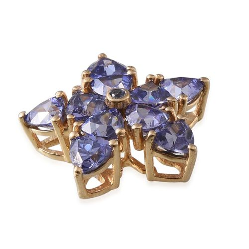 ELANZA AAA Simulated Tanzanite (Trl) Floral Pendant in 14K Gold Overlay Sterling Silver
