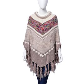 Khaki, White and Multi Colour Floral Pattern Poncho with Squins and Tassels (Size 85x70 Cm)