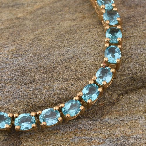 Paraibe Apatite (Ovl) Necklace (Size 18) in 14K Gold Overlay Sterling Silver 30.000 Ct.