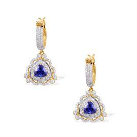14K Y Gold Tanzanite (Trl), Diamond Hoop Earrings 3.150 Ct.